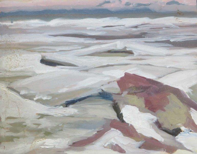 Ice chunks on lake 8x10